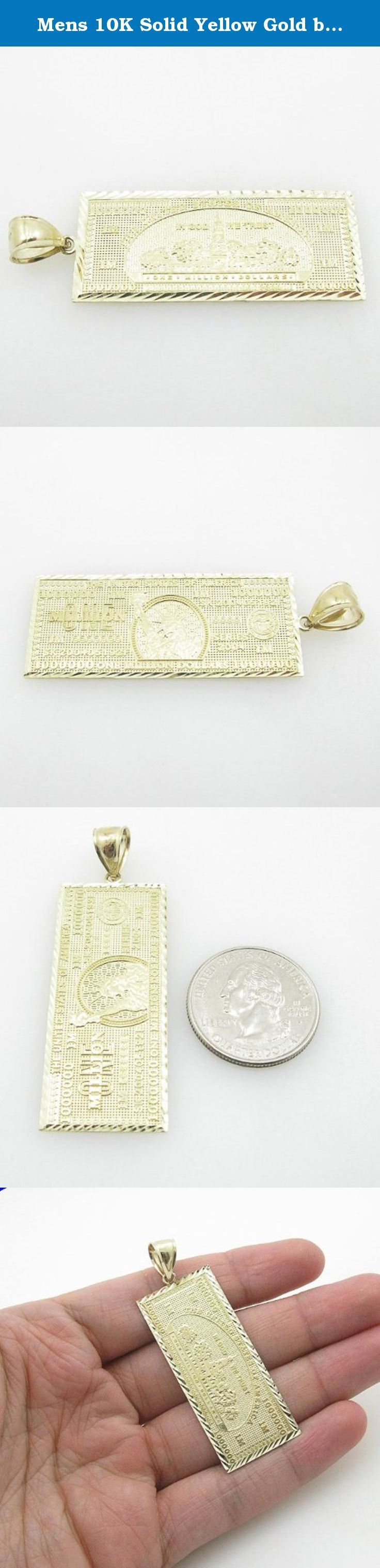 Mens 10K Solid Yellow Gold big one million dollar bill pendant Length - 2.40 inches Width - 21.5mm. big one million dollar bill pendant , 10K Solid Yellow Gold, Length - 2.40 inches Width - 21.5mm, 6.6 gr.