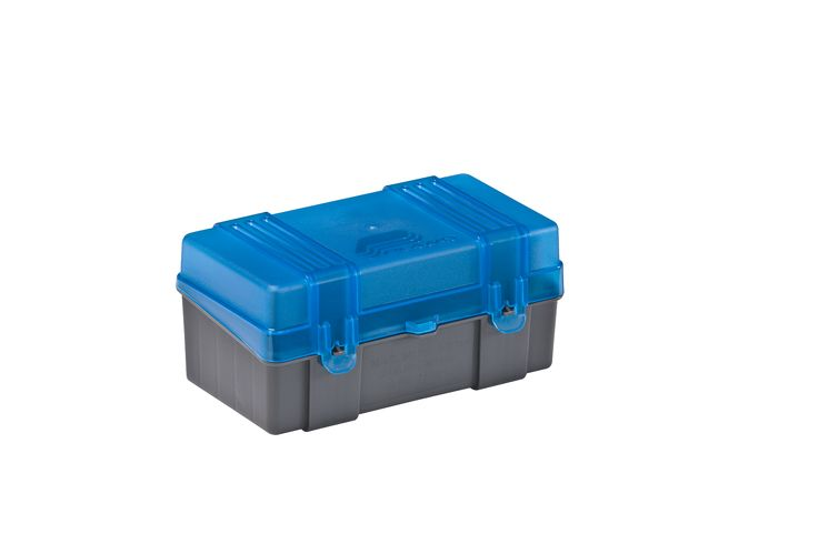 The 50-Count Small Rifle Ammo case is fitted for .22-250, .250 Savage, 30-30 Winchester, .32 Winchester and .233. This Rifle ammo case holds up to 50 rounds.