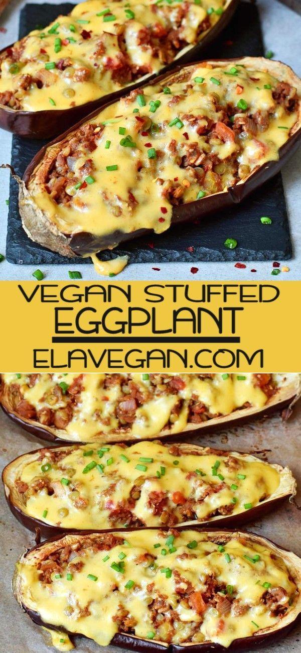Stuffed Baked Eggplant With Lentils Eggplant Recipes Easy Vegan Dinner Recipes Vegan Main Dishes
