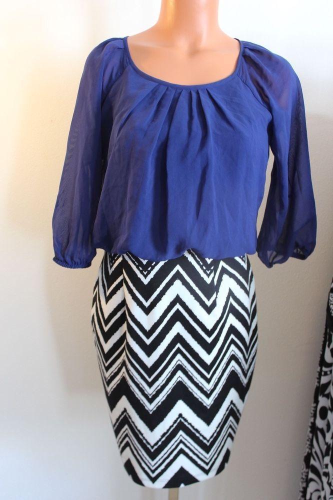 Women Junior Scoop Neck Royal Blue Chevron Dress Sleeves Small #Unbranded #Minidress #Formal