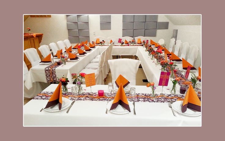 Gut Servietten Falten Zur Hochzeit, Konfirmation, Geburtstag, Kommunion In  Organge Und Lila