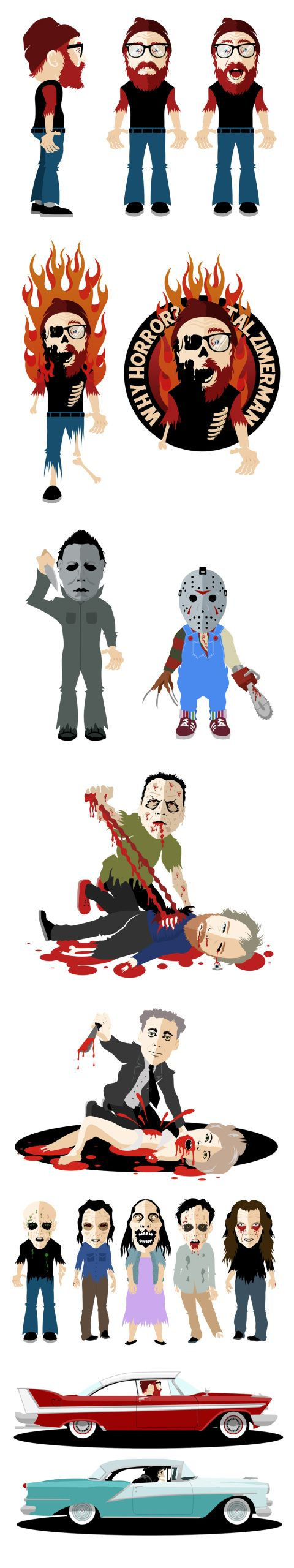 "Illustrated characters for the ""Why Horror"" documentary. www.bofagroup.com"