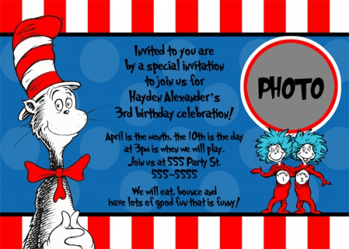 22 best the cat in the hat images on pinterest | dr suess, Birthday invitations