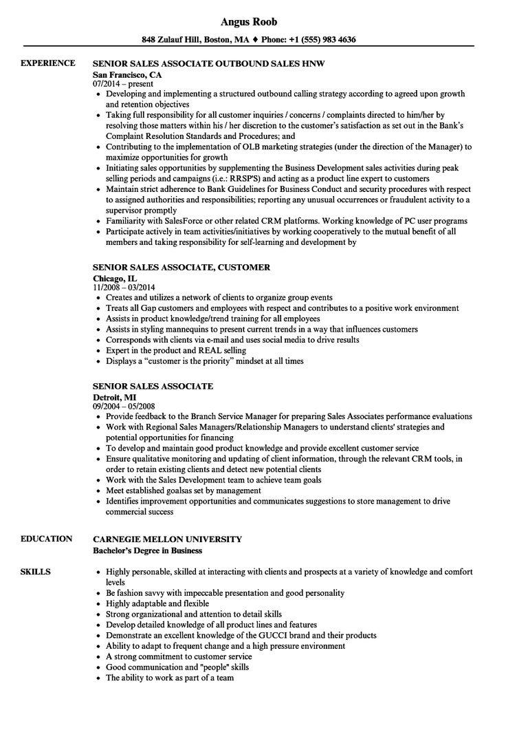Sales Associate Resume in 2020 Marketing resume, Resume