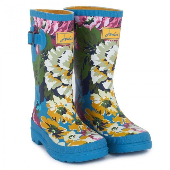 Joules Blue Floral Wellington Boots