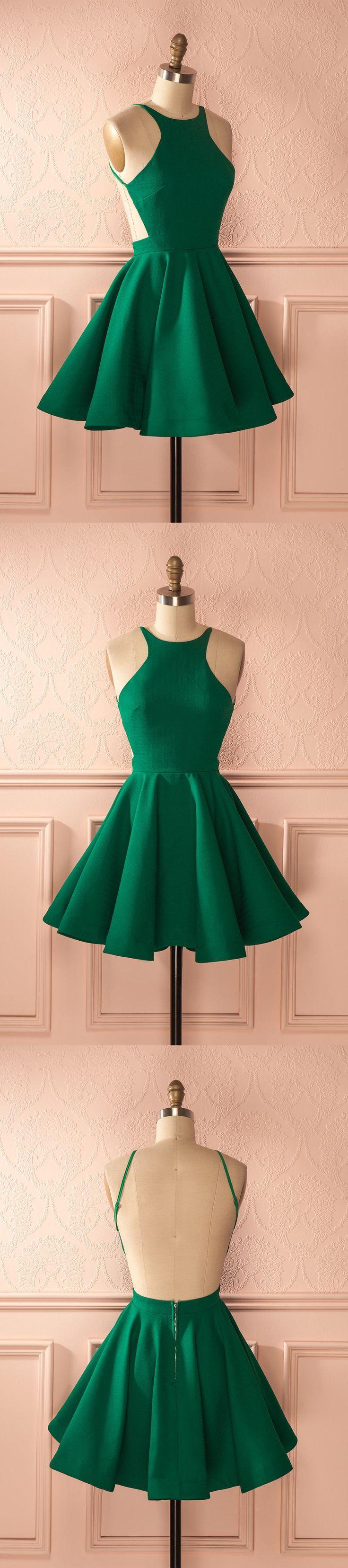backless homecoming dresses, short homecoming dresses, green homecoming dresses, homecoming dress with pleats, 2017 homecoming #homecoming #greendress