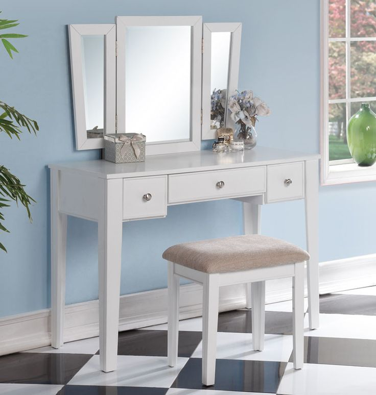 OC Furniture   Poundex F4110 Alicia White Makeup Vanity Table With Mirror,  $229.00 (http