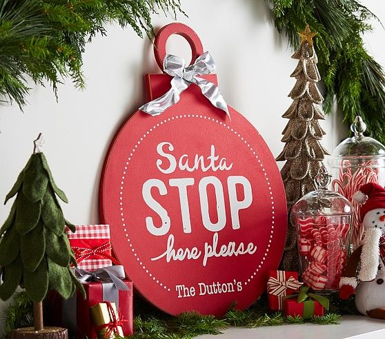 "Personalized ""Santa Stop Here Please"" Ornament Plaque 