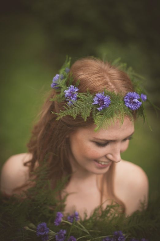 Flower fairy inspired cornflower and fern flower crown // Flowers by Catkin // The Natural Wedding Company