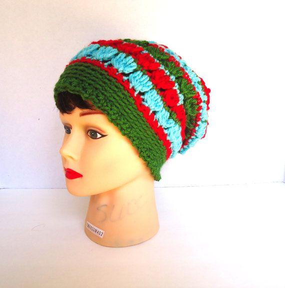 Womens striped crochet hat womens beanie hat by KeishasKreativity