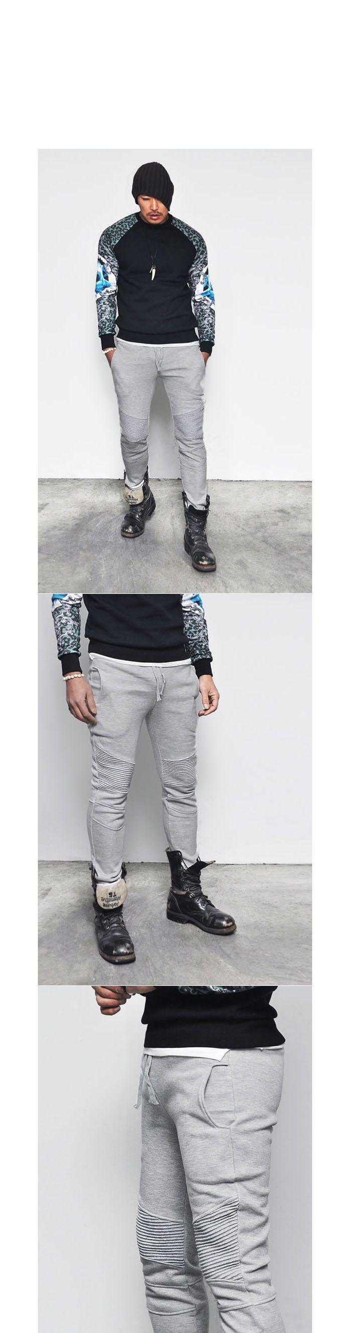 Seaming Biker Cuffed Jogger-Sweatpants 205 - GUYLOOK
