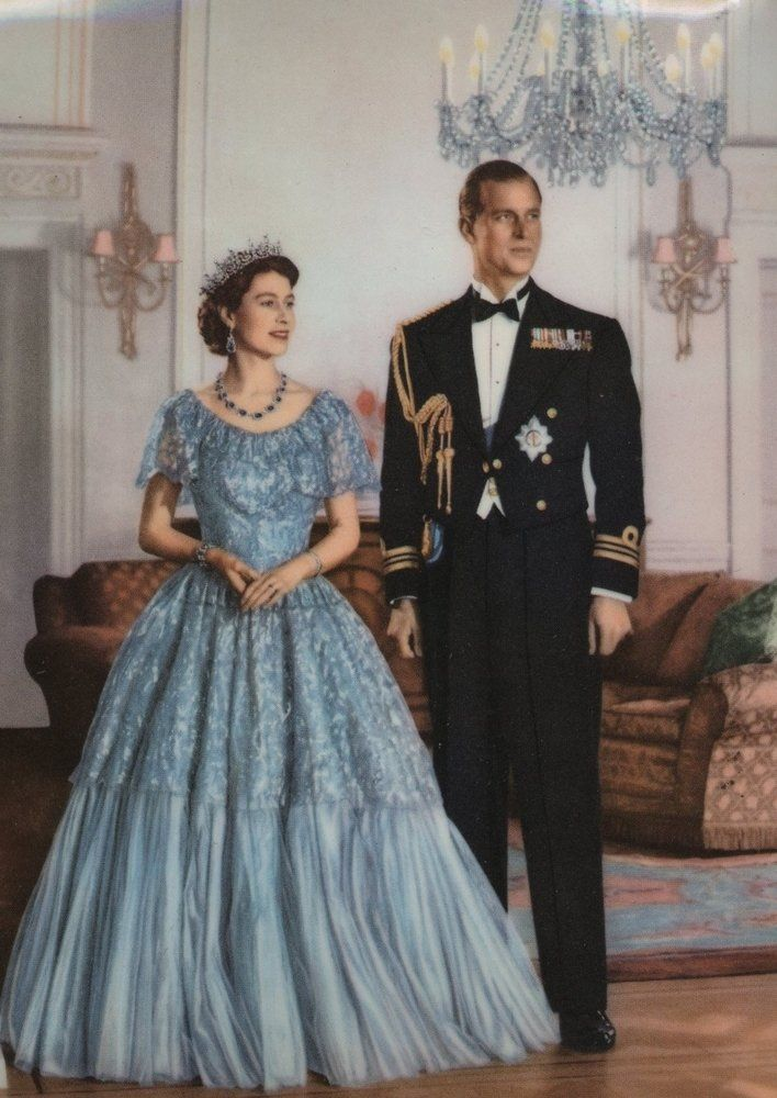 Beautiful blue lace, tulle, enormous sapphires and a handsome man. It's good to be Queen.