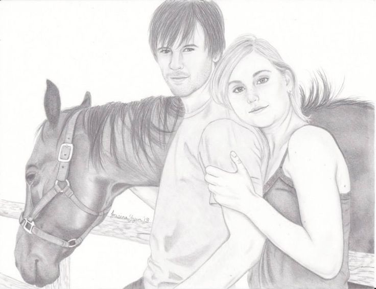 Ty (Graham Wardle), Amy (Amber Marshall) and Spartan (Stormy) from Heartland. :)