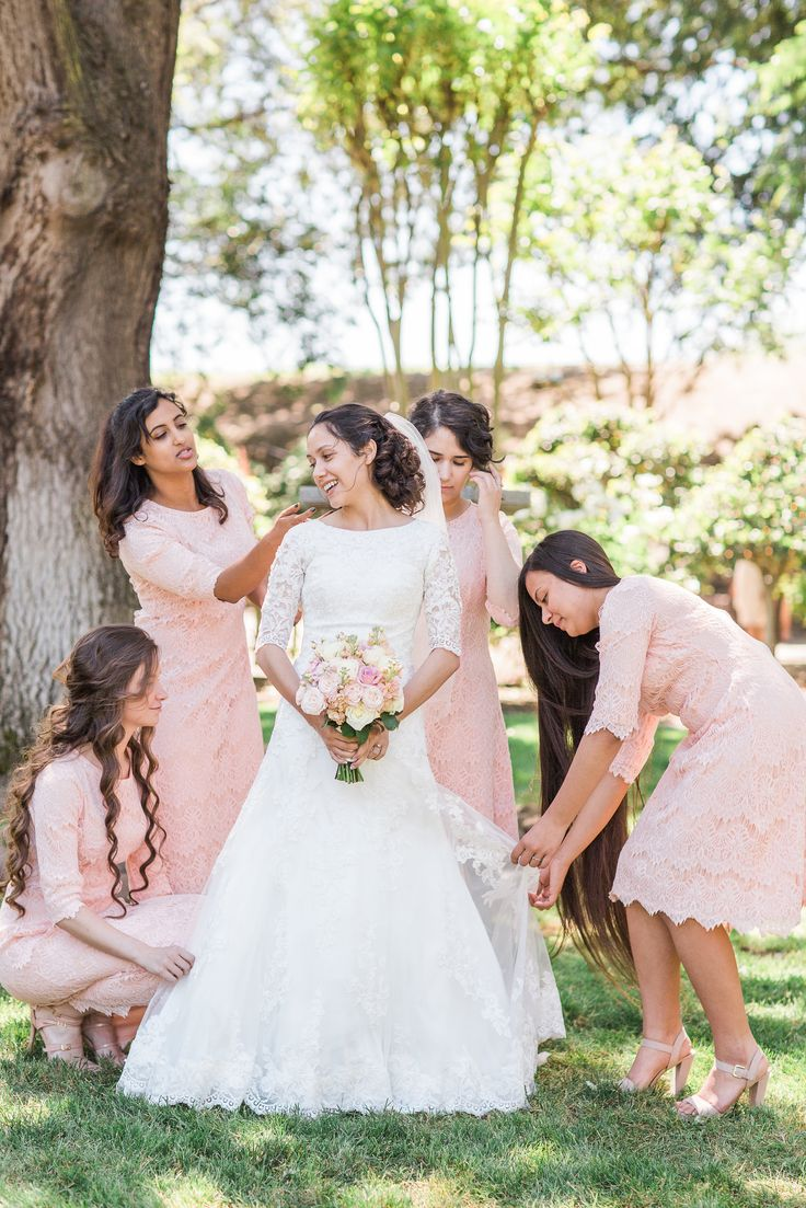 Modest bridesmaid dresses by Dainty Jewell's. Blush pink lace Night in Paris dress. Photo: The Photege -http://ishootwithmyheart.com/