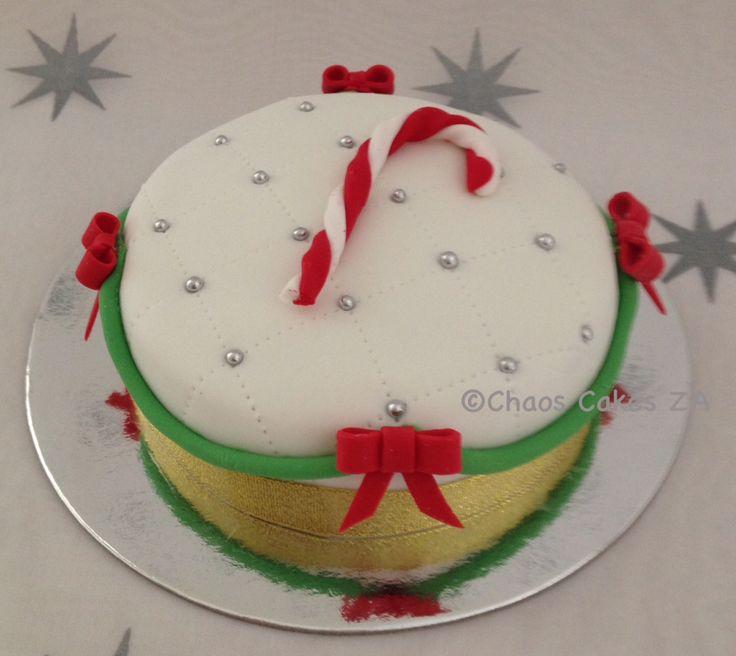 Candy Cane white fondant cake Christmas Cake by Chaos Cakes ZA