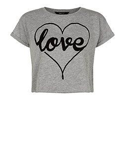 Teens Grey Flocked Love Heart Print Crop Top | New Look