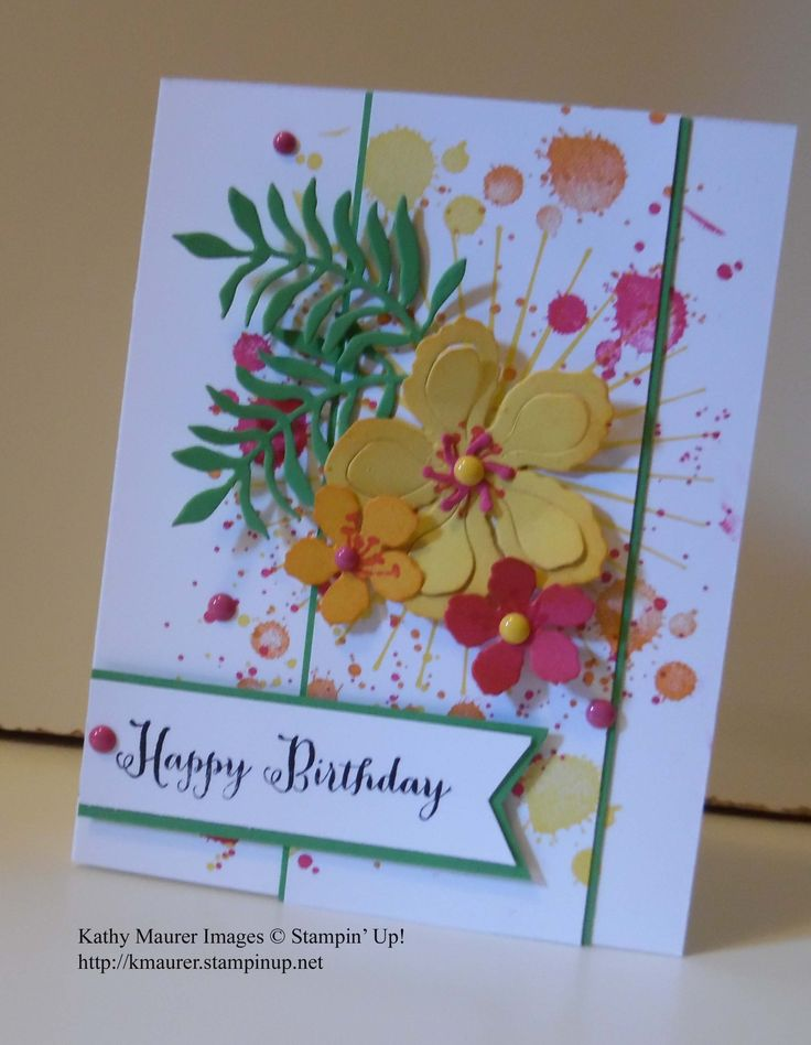 Birthday Card made with Stampin' Up!'s Botanical Builders Framelits, Botanical Blooms, Gorgeous Grunge, Remembering Your Birthday, and Kinda Eclectic Stamp Sets. For details, go to my Wednesday, May 25, 2016 blog at http://kmaurer.stampinup.net