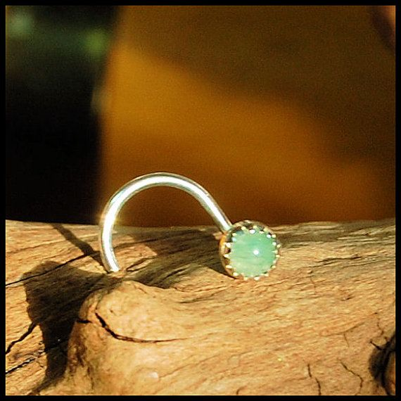 Nose Stud / Nose Screw / Aventurine in Sterling Silver Serrated Bezel. An aventurine nose stud featuring a 3mm (just under 1/8) pale green