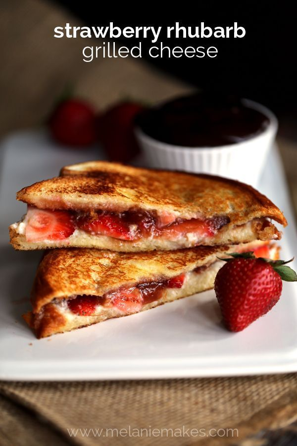 Forget the savory and welcome to the sweet side of grilled cheese sandwiches! Hawaiian bread, mascarpone cheese, fresh strawberries and rhubarb strawberry preserves combine to create a Strawberry Rhubarb Grilled Cheese that is nothing short of melty perfection. Each sandwich is served alongside a velvety chocolate ganache which acts as the ultimate dipping sauce for this sweet treat.