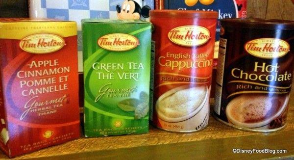 Tim Horton Teas and Cappuccino & Hot Chocolate Mixes you'll find at #DisneyWorld!