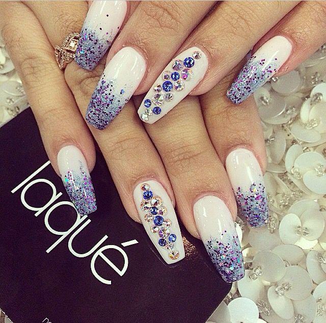 White + Blue Glitter & Rhinestone Long Coffin Nails #nail #nailart Bling
