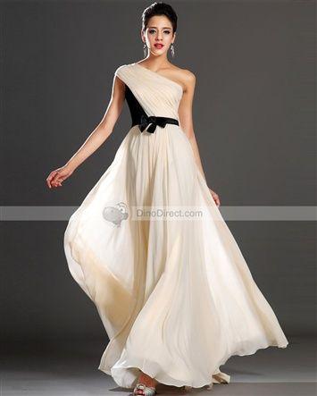Amylinda™ Chiffon Satin Pleated One Shoulder Sleeveless Floor Length A Line Evening Dress