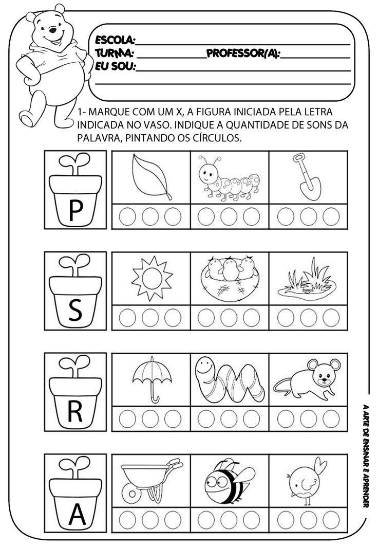 A Arte de Ensinar e Aprender: Atividade pronta - letra inicial e quantidade de sons
