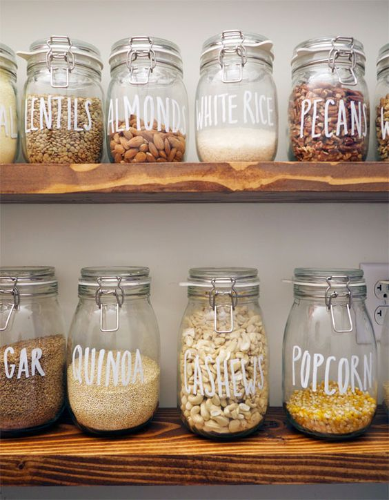 Korken Jars from Ikea, labeled with their dry pantry contents: