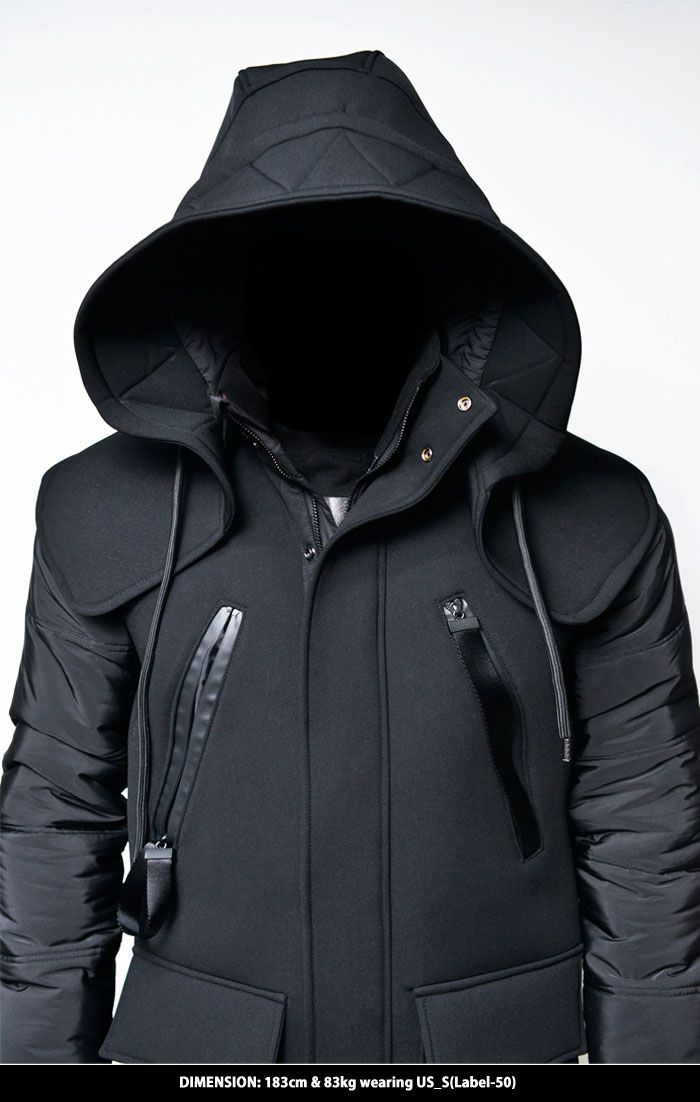 Outerwear :: Parkas :: Detachable Big Hood Neoprene Jacket-Parka 54 - Mens Fashion Clothing For An Attractive Guy Look