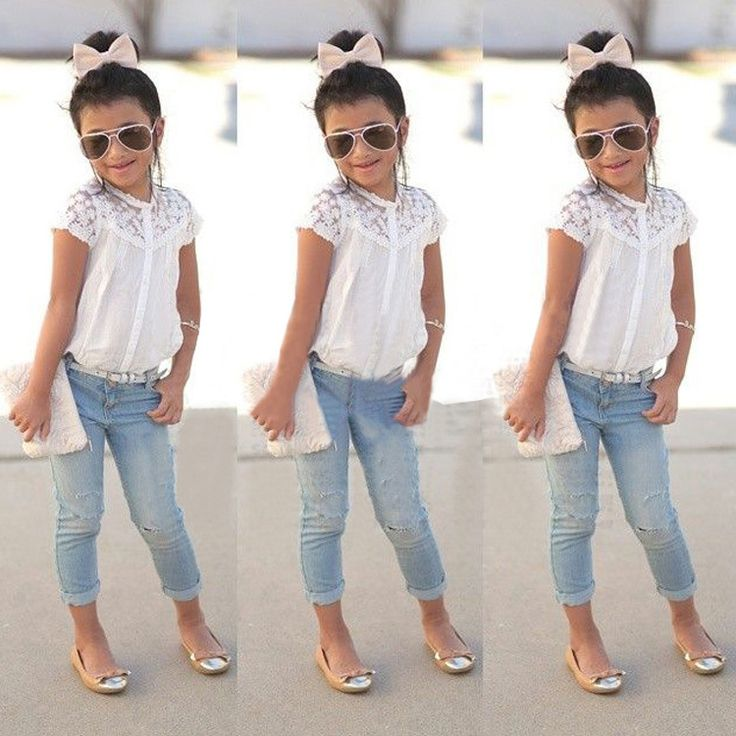 Flats, cropped jeans, lace and sparkle headband