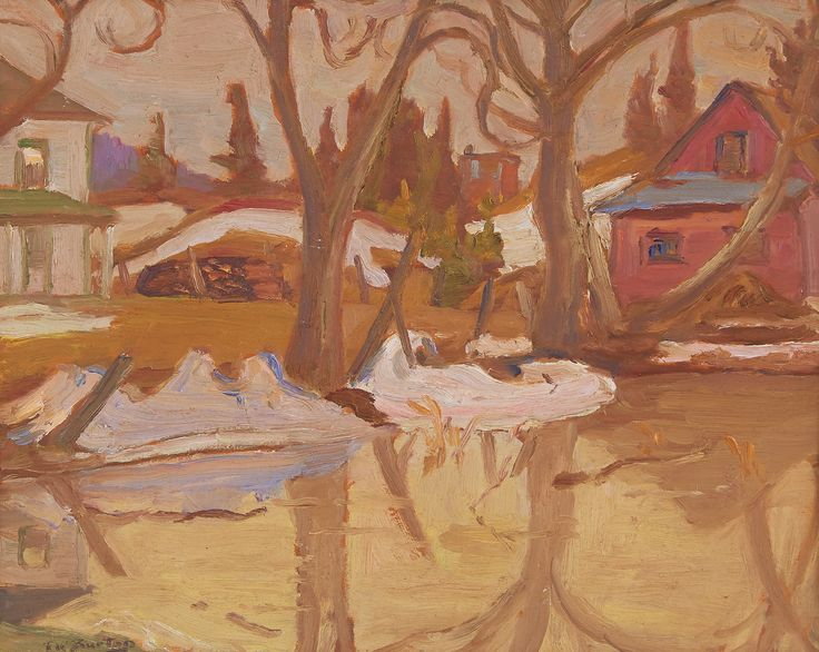 Ralph Wallace Burton - Spring Pond Politmore Quebec 10.5 x 13.5 Oil on board (1963)