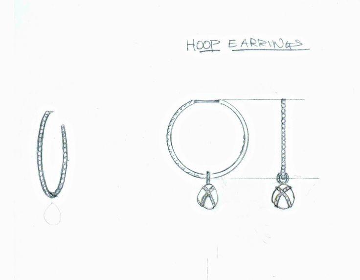 Rough diamond hoop earrings sketch! #design #art #