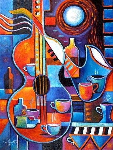 Музыка Кофе и вино Под Лунный свет Оригинальное Современная Абстрактная живопись маслом Marlina Vera