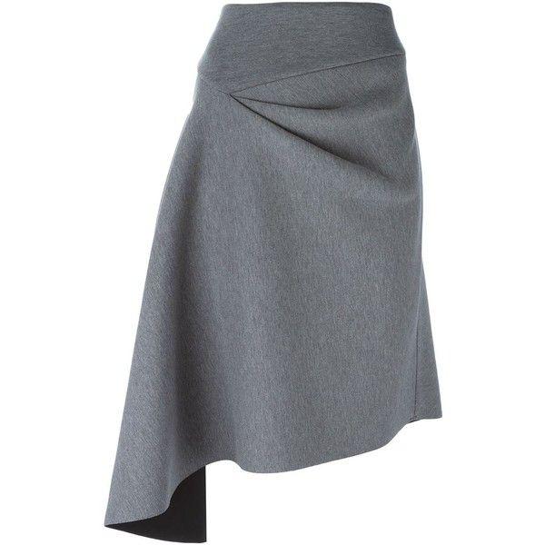 DKNY Asymmetric Skirt (81.525 HUF) ❤ liked on Polyvore featuring skirts, bottoms, grey, grey skirt, gray skirt, dkny skirts, high rise skirts and high waisted knee length skirt