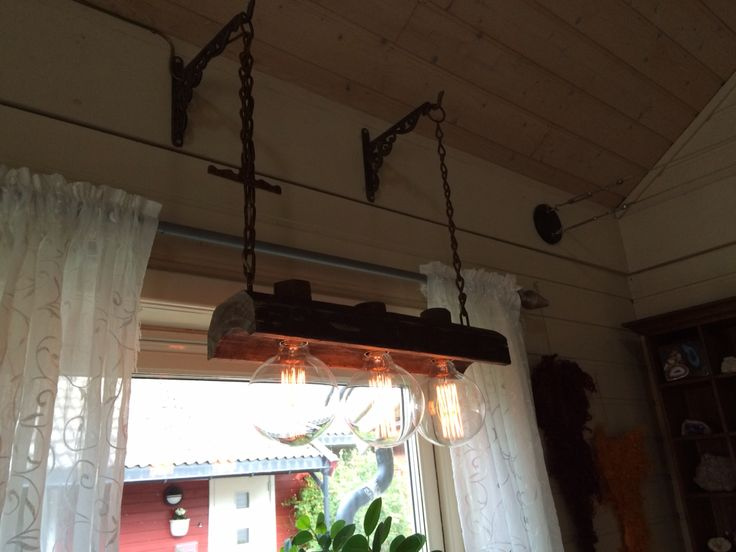 Rustic lamp from an old gutter
