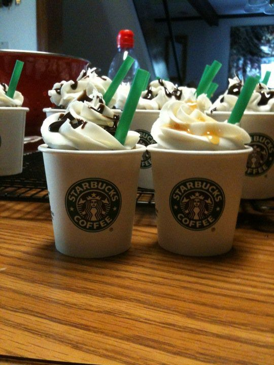 Starbucks cupcakes 4oz cups and straws from starbucks devils food