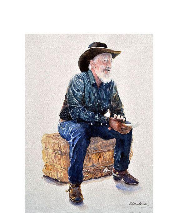 Watercolor ORIGINAL  Cowboy Poet  poetry cowboy humor