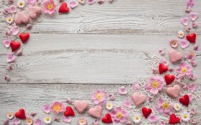 Wallpaper decor, pink, petals, chamomile, hearts, background, marzipan, flowers