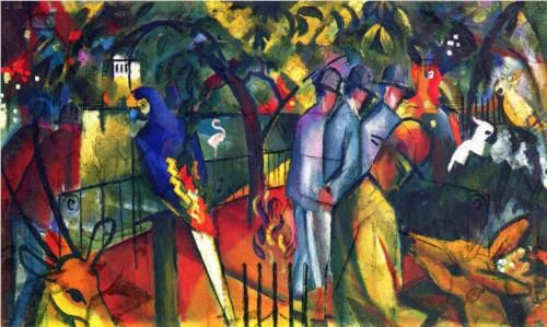 Zoological Garden I - August Macke, 1912. Style: Orphism. oil, canvas