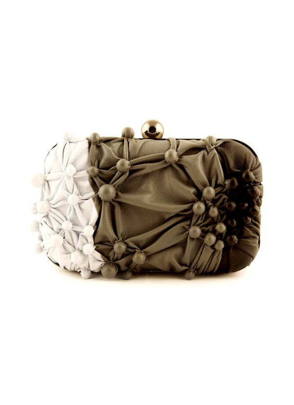 5dca8e16113a Shop Bubbling Leather Box Clutch from Suede by Devina Juneja ...