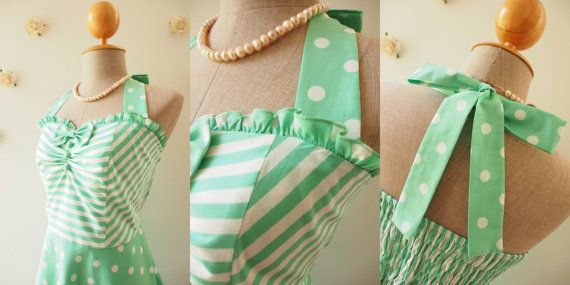 The Circus Party Dress Sea Foam Green Dress Halter by Amordress