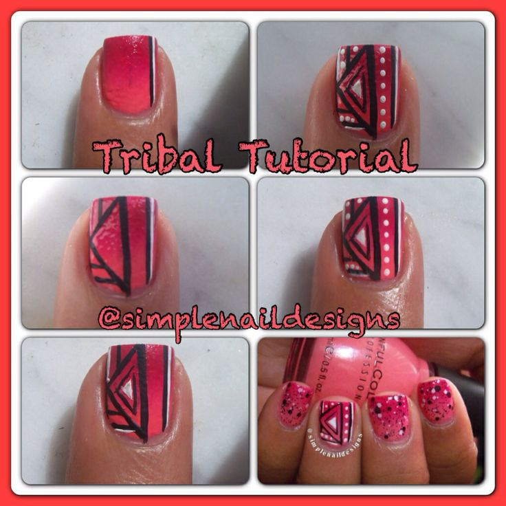 Tribal nail tutorial | My nails | Pinterest