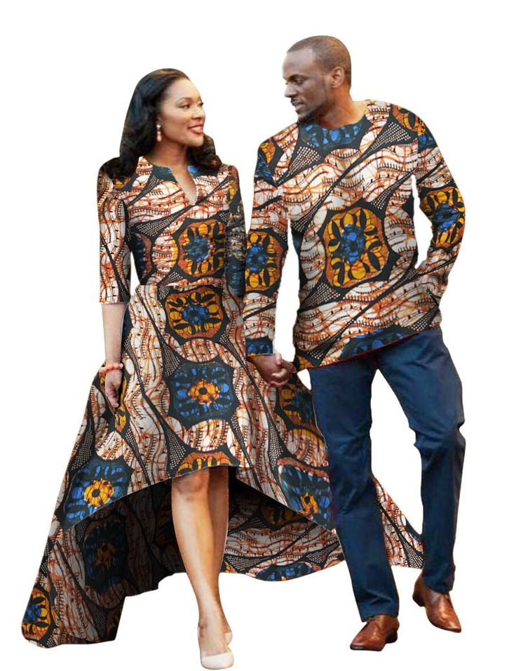 Men and Women African Traditional Clothes, Fashion Party Dress and Shirt, Various Colors
