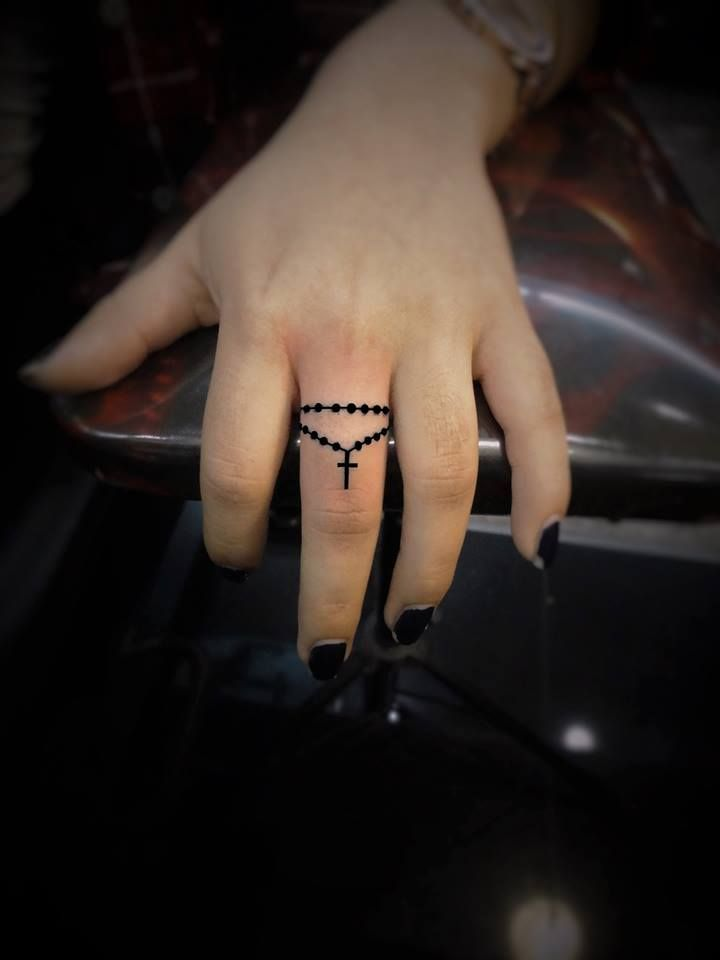 Rosary Bead Tattoo Finger Tattoo