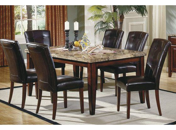 montibello 5pc dining cherries marble top and room set