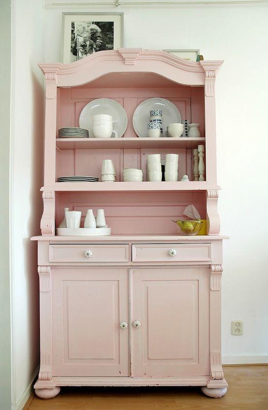 #pink #vintage #furnitureChina Cabinets, Painting Furniture, Pink Vintage, Soft Pink, Shabby Chic, Pale Pink, Pink Furniture, Vintage Furniture, Bright Colours