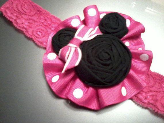 Minnie Mouse Hair Accessory Headband on Ruffle by RheasBlooms