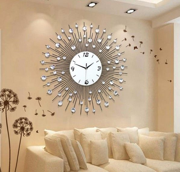 New Luxury Scenic Iron Art Metal Living Room Round Diamond Wall Clock Home Decor Smart Home From Consumer Electronics On Banggood Com Living Room Clocks Wall Clocks Living Room Large Wall Clock