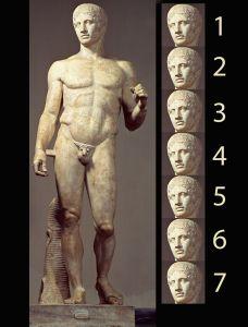 POLÍCLETO. Doríforo. Canon 7 cabezas. Grecia clásica 2ª etapa (450-400 a.C.)
