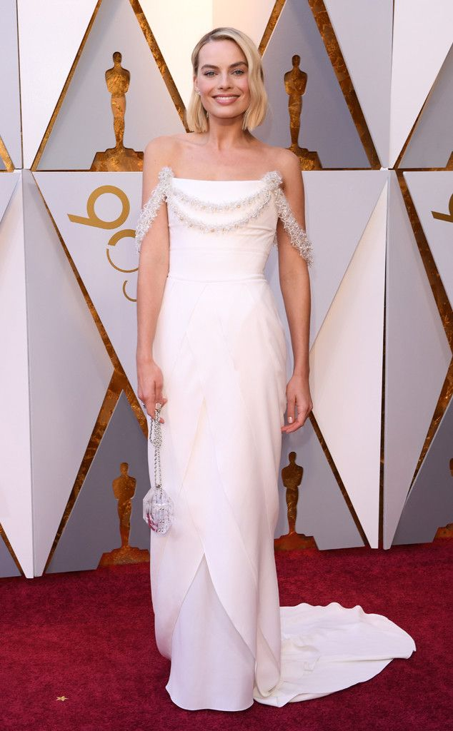 Margot Robbie from Standout Style Moments From Oscars 2018  The I, Tonya star wore white Chanel to the Oscars.